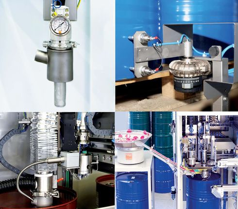 Detailed view of the drum filling machines